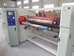 Double shaft rewinding machine